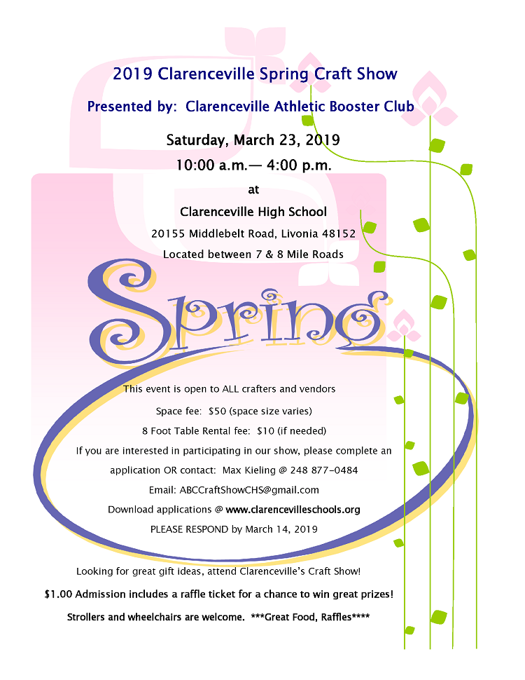 Flyer for the Clarenceville 2019 Spring Craft Show