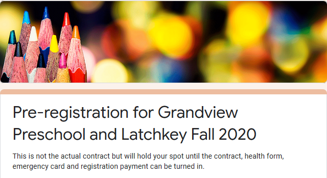 2020 Latchkey and Preschool Pre-registration
