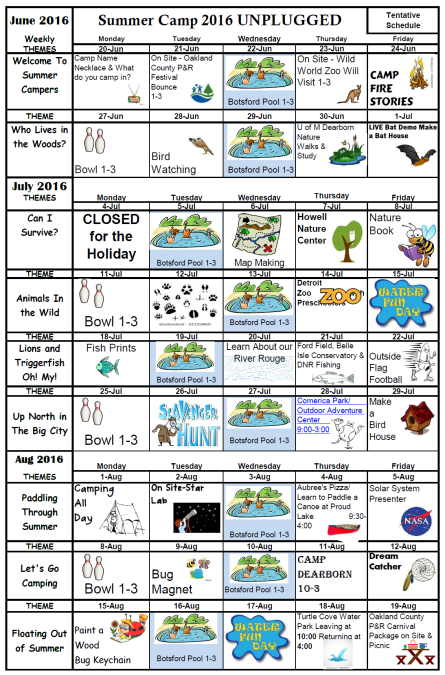 Summer Camp 2016 Unplugged Daily Activity Calendar